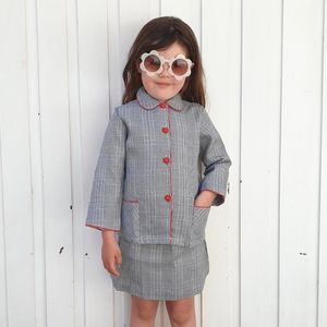 Vintage 60s DEADSTOCK Set Prince of Wales Check Suit Jacket Skirt Approx 5 YEARS